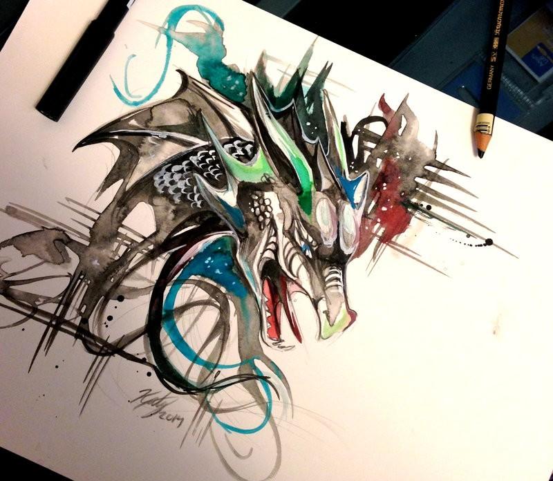 Swirly multicolor dragon head tattoo design