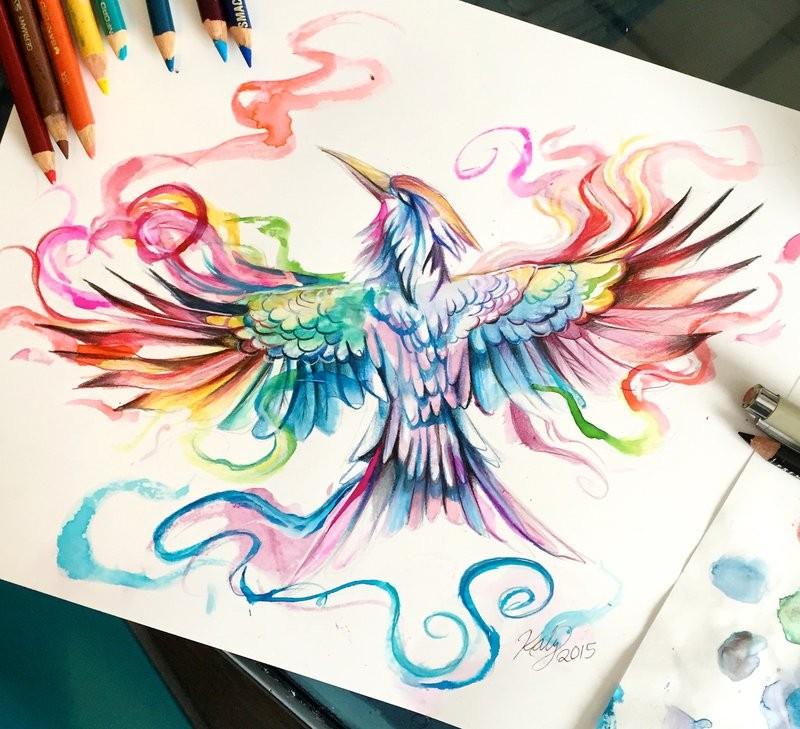 Swirly rainbow-colored rising phoenix tattoo design by Lucky978