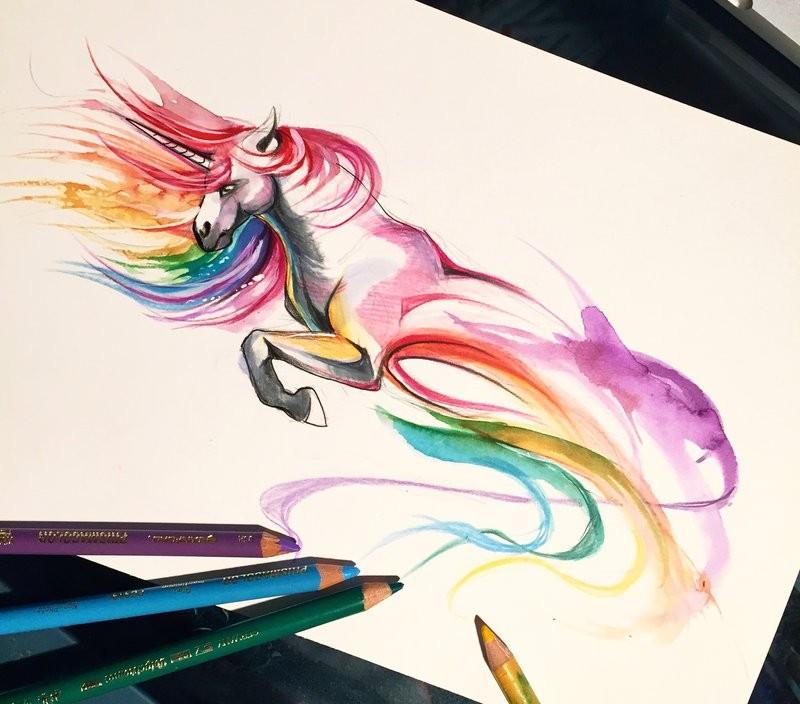 Swirly rainbow-colored unicorn tattoo design by Lucky978