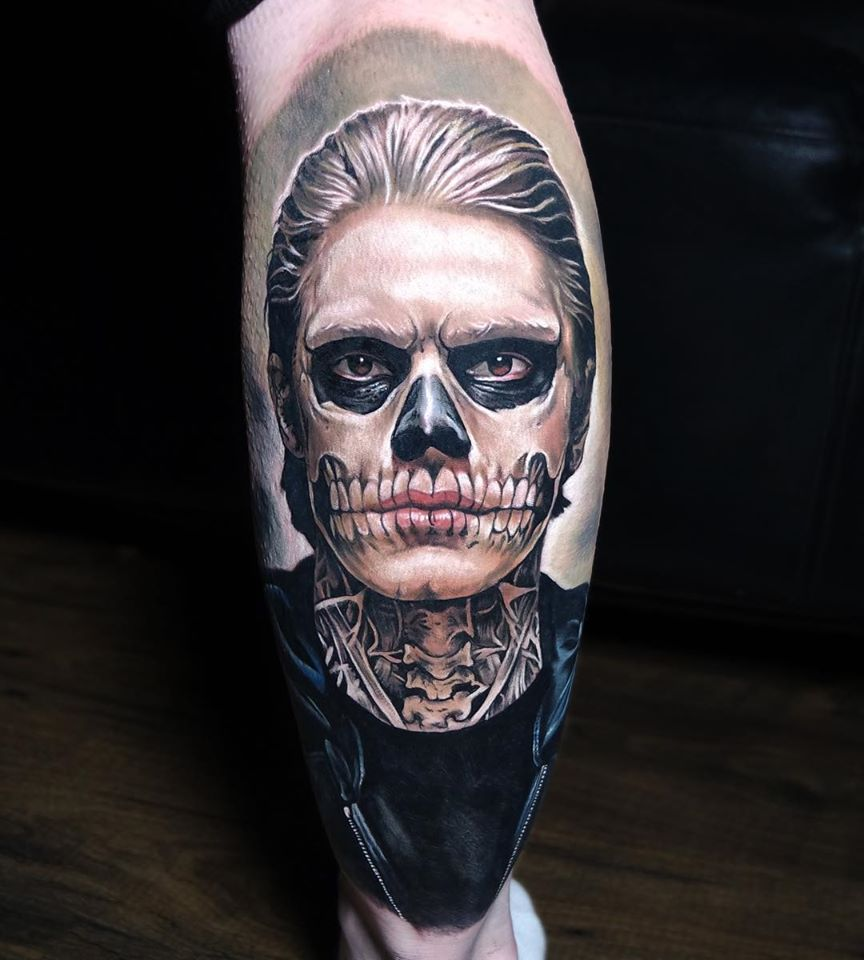 Tate Langdon portrait tattoo from American Horror Story