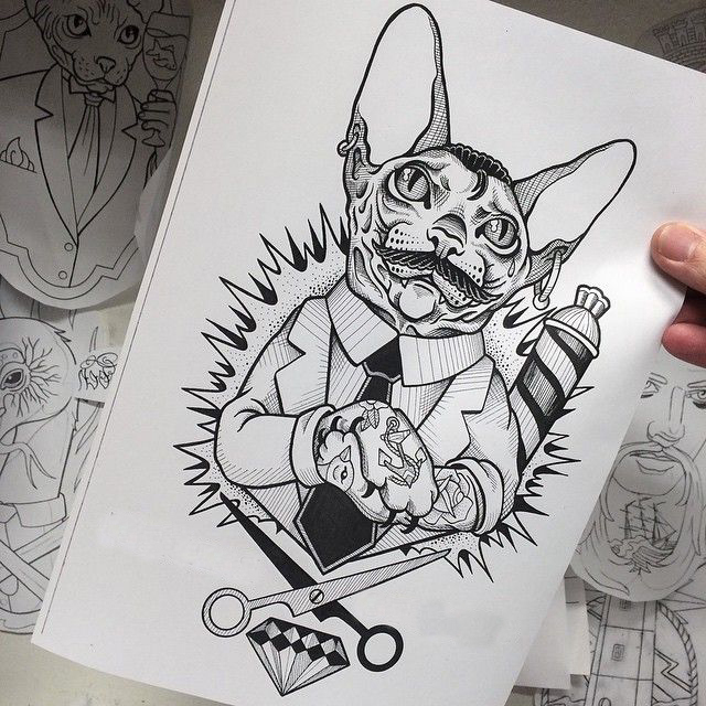 Tattooed Cat Barber On Boom Background Tattoo Design