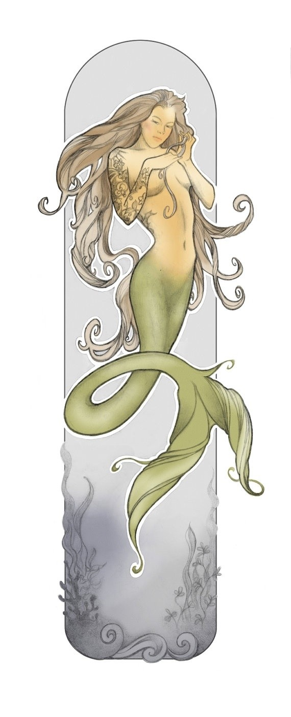 Tattooed chestnut hair mermaid with green tail tattoo design