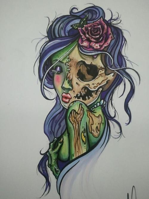 Tempting colorful zombie girl with purple hair tattoo design