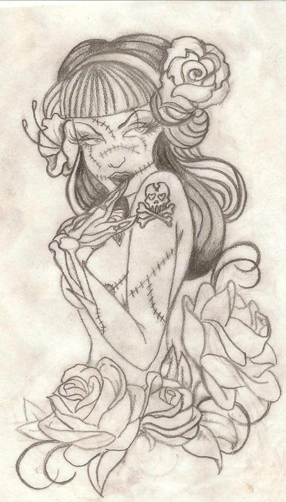 Tempting pencilwork pin up zombie girl with roses tattoo design