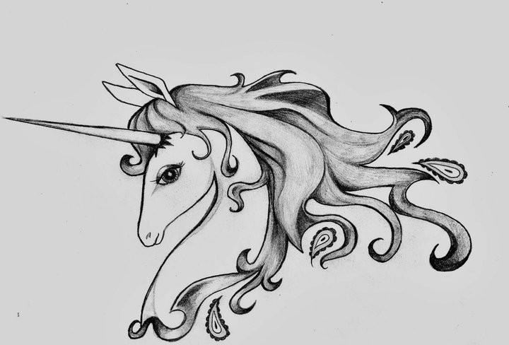 Tender black-and-white unicorn profile tattoo design for girls
