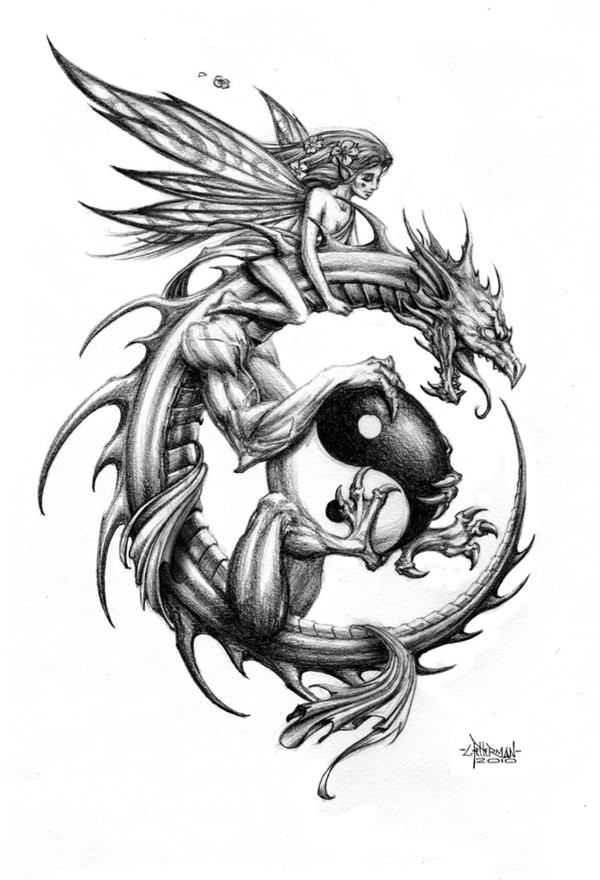 Tender fairy riding a dragon keeping a big yin yang symbol tattoo design - Tattooimages.biz