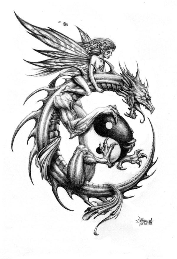 Tender fairy riding a dragon keeping a big yin yang symbol tattoo design