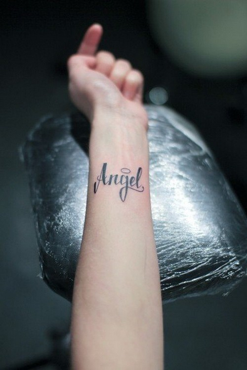Tender girly angel quote tattoo on arm