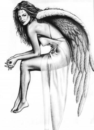 Tender grey-ink angel woman in a transparent nightie tattoo design