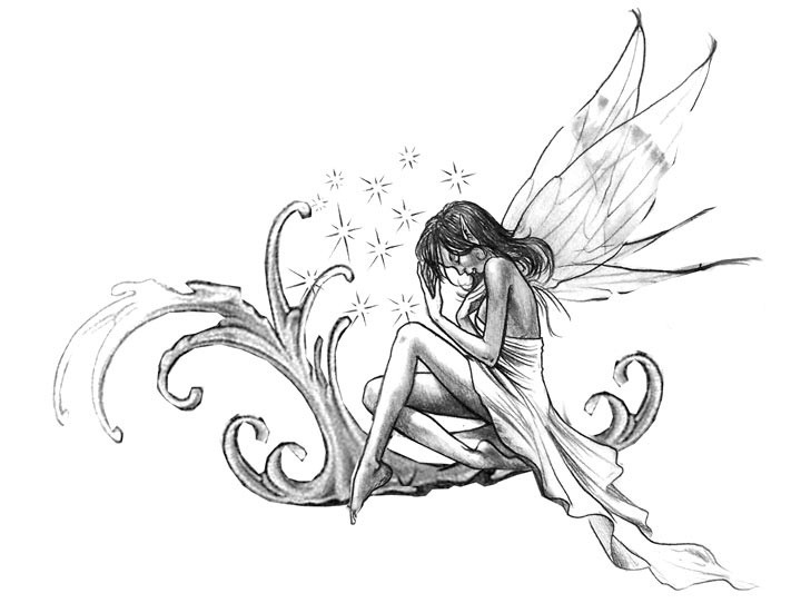 Tender grey-ink fairy sitting on large curly waves under the stars tattoo design