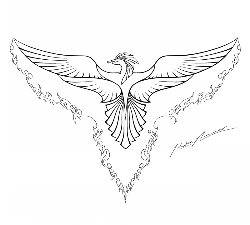 Tender outline phoenix with flaming wings and tail tattoo design