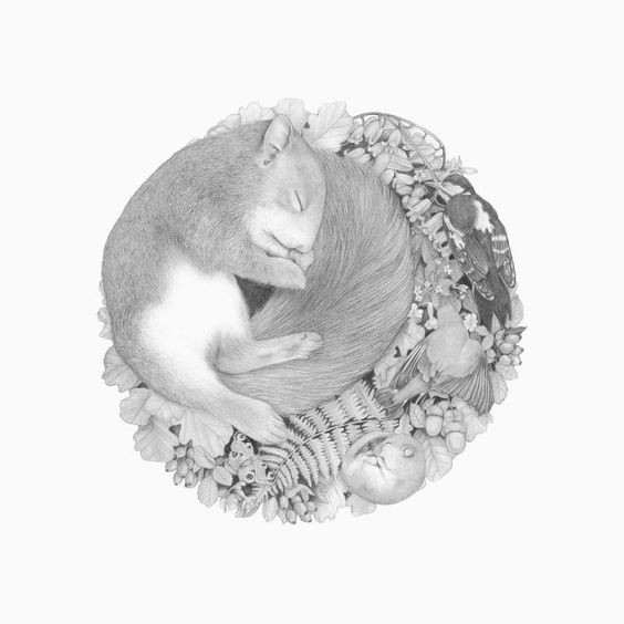 Tender sleeping rodent with birds on herbal background tattoo design