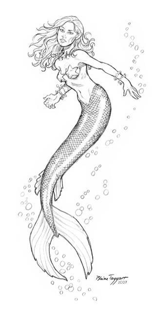 Tender slim colorless mermaid tattoo design