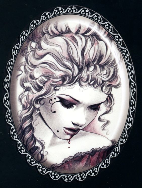 Tender vampire girl with curly hair in the mirror frame tattoo design