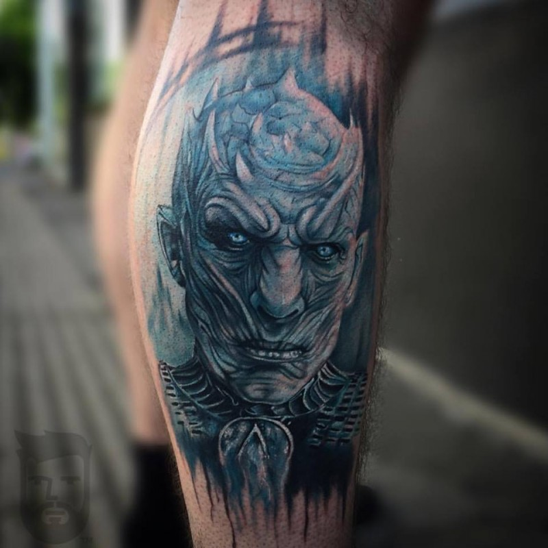 Terrible Night King tattoo on leg