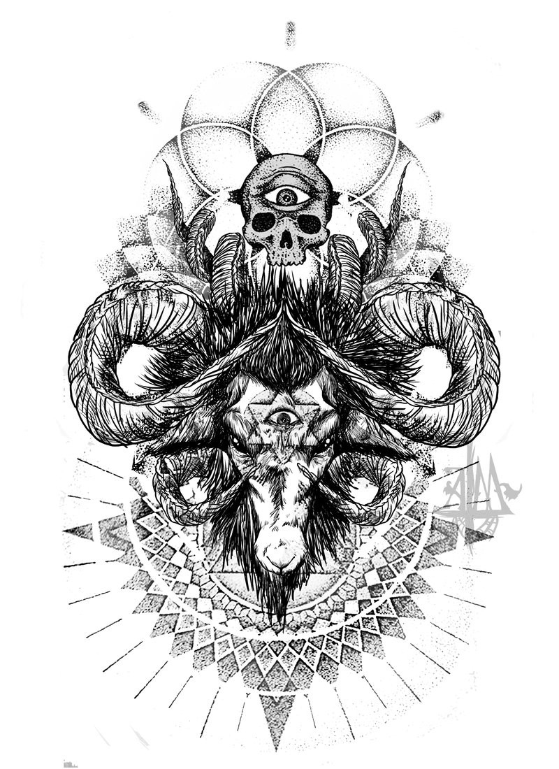 Terrible black-ink ram with sacred elements tattoo design