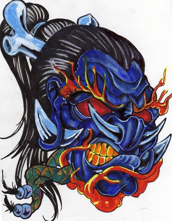 Terrible blue-faced demon with long brunette hair tattoo design