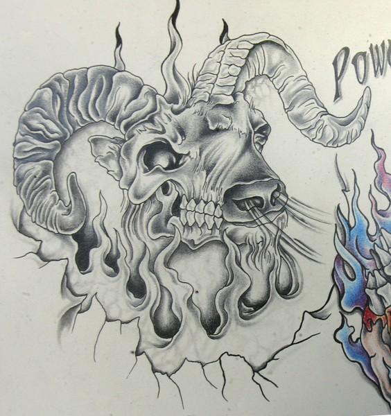 Terrible grey-ink ram in flame tattoo design