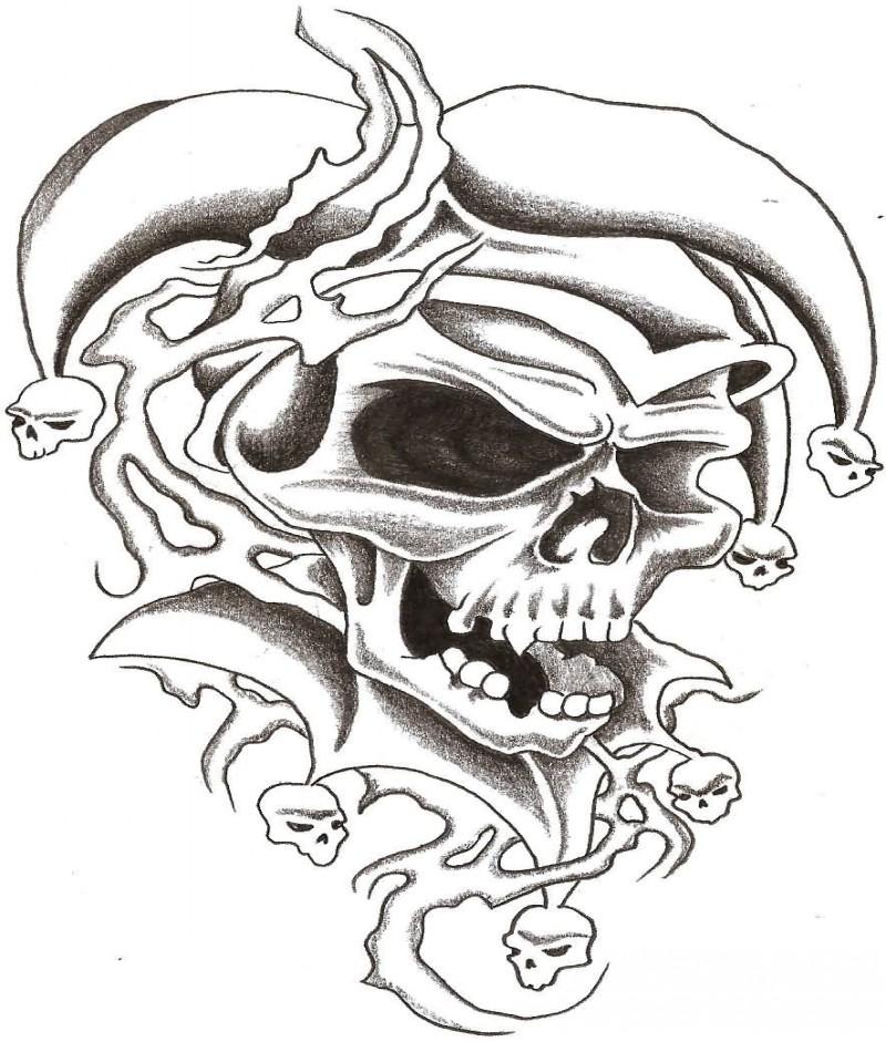terrific laughing evil jester death skull tattoo design. Black Bedroom Furniture Sets. Home Design Ideas