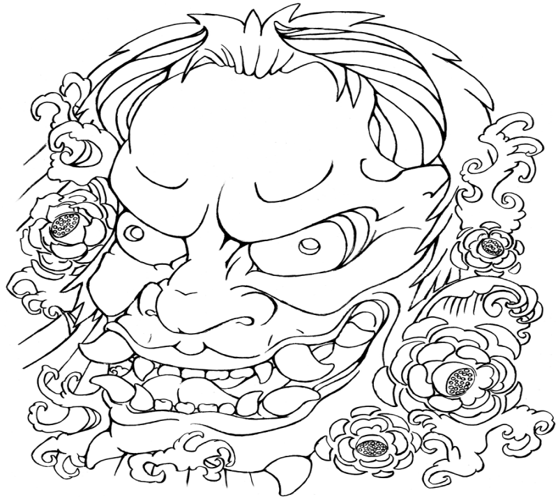 Terrific outline japanise demon face with a lot of flowers tattoo design