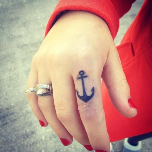 Thick-lined black anchor tattoo on forefinger