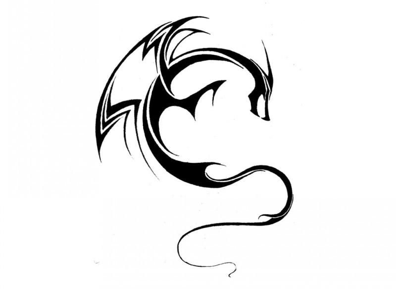 thin line elegant dragon tattoo design. Black Bedroom Furniture Sets. Home Design Ideas