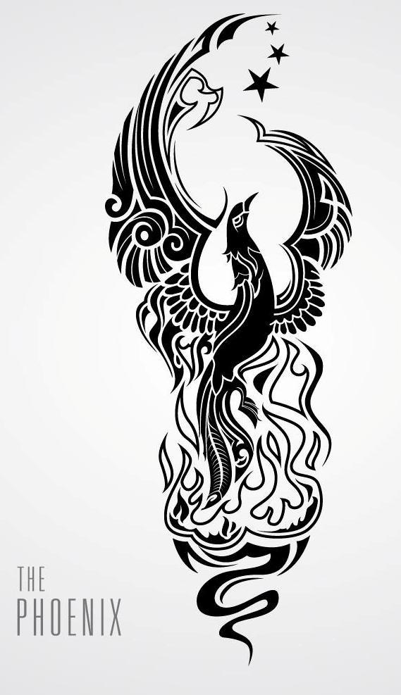 Passaro De Fenix Preto Cacheado Fino Com Desenho De Tatuagem De