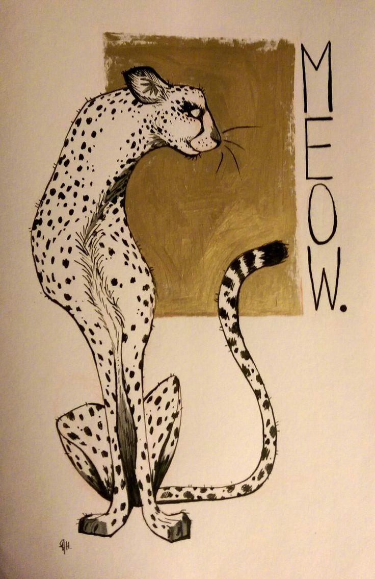 Thin cartoon cheetah sitting at brown watercolor square tattoo design
