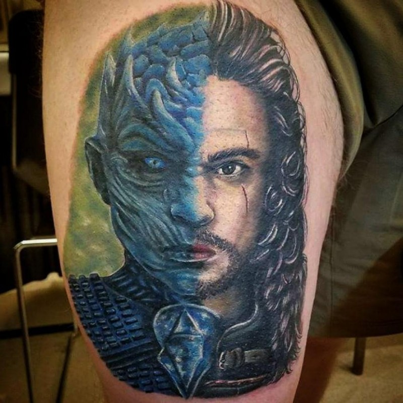 Things tattoo of half John Snow half Night King