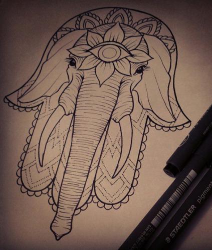 Third eyed hamsa elephant tattoo design for Hamsa elephant tattoo