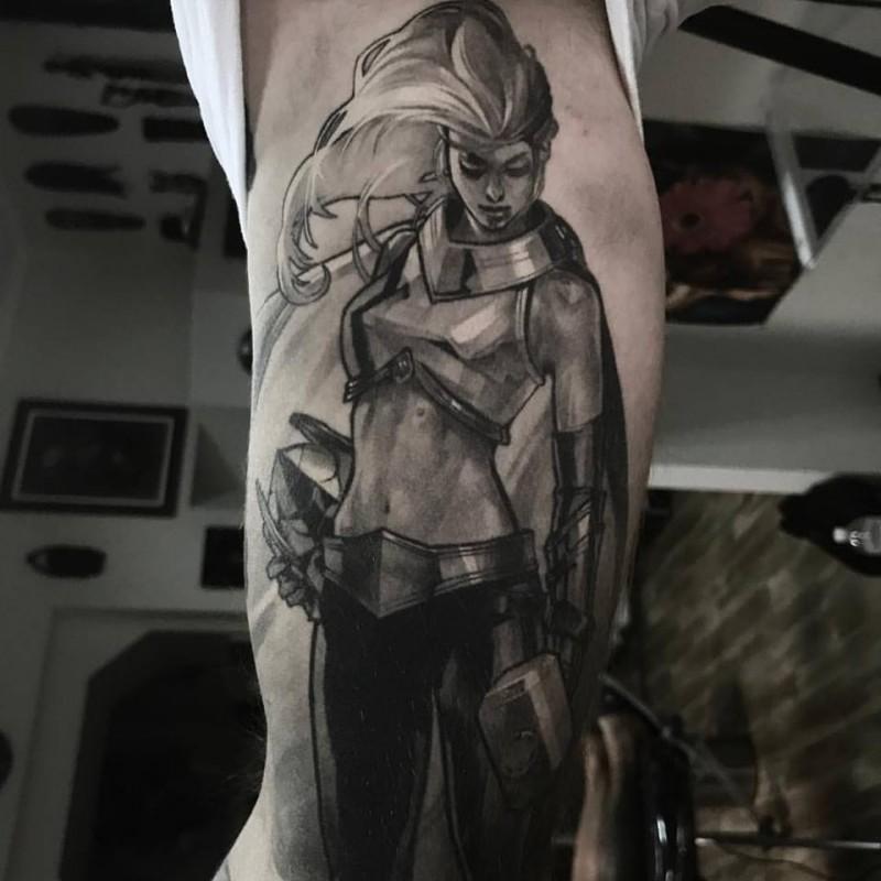 Thor girl tattoo on inner arm