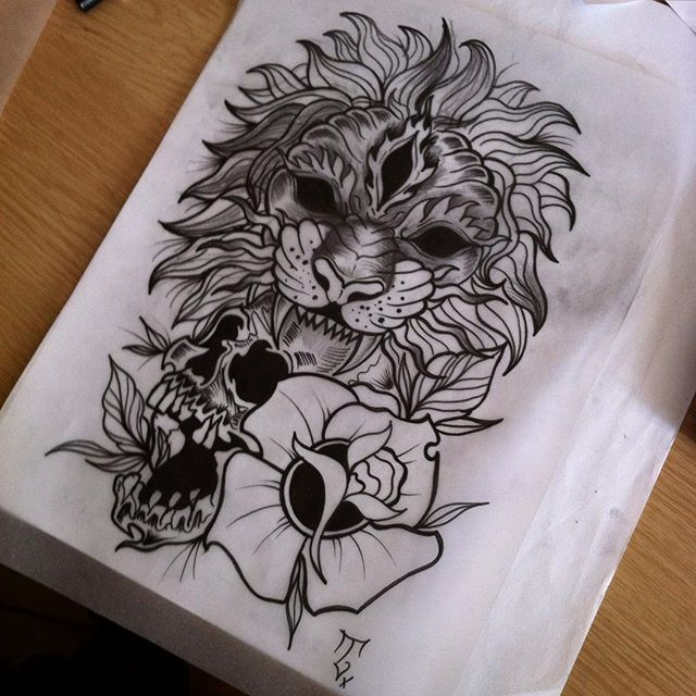 Three eyed lion with skull and flower tattoo design for Lion skull tattoo