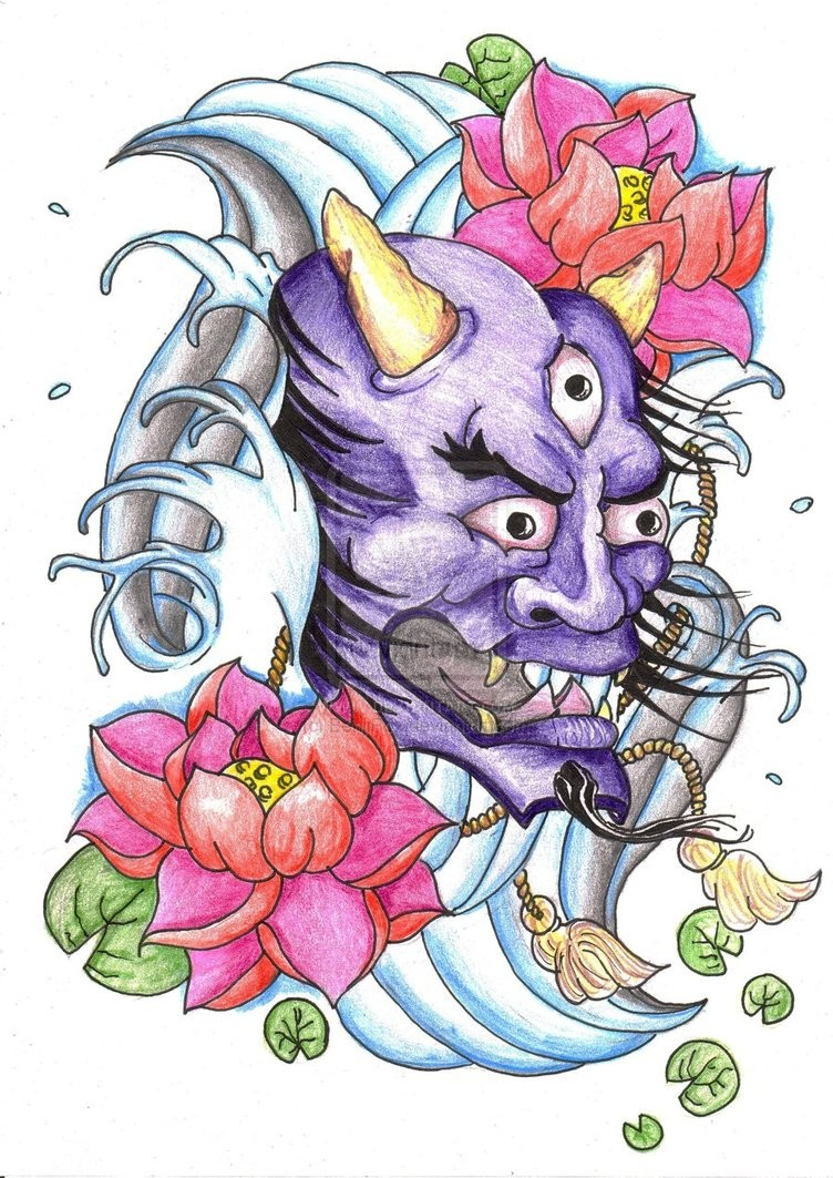 Three-eyed purple demon head with pink lotuses and blue water waves tattoo design