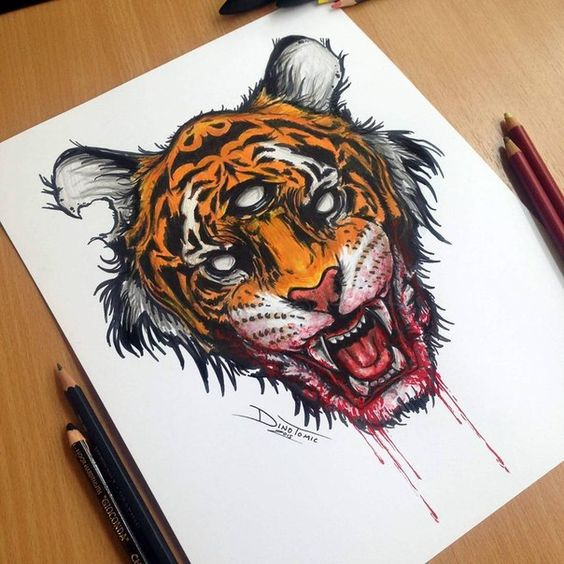 Three-eyed tiger head with blooded mouth tattoo design