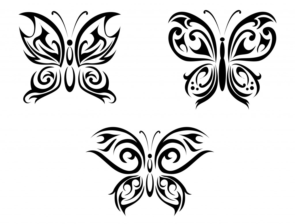three different tribal butterfly tattoo designs. Black Bedroom Furniture Sets. Home Design Ideas