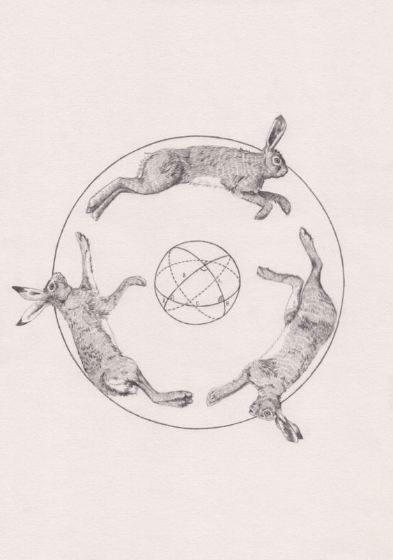Three grey-ink running hare s with geometric drawings inside tattoo design