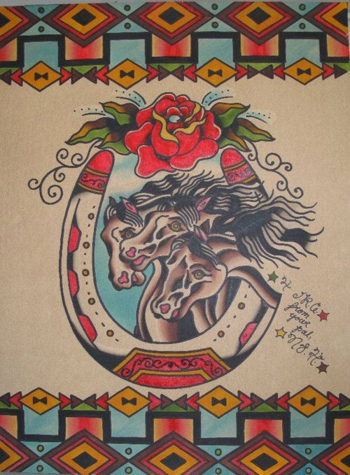 Three traditional colorful horses in horseshoe frame tattoo design