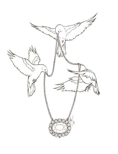 Three uncolored bird keeping a diamond necklace tattoo design