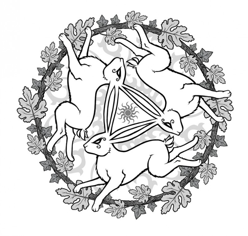 Three white hare running by oak leaved circle tattoo design by JH1873