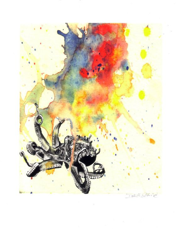 Tiny black-and-white octopus with huge rainbow watercolor backgrouns tattoo design