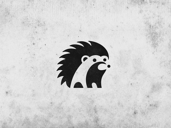 Tiny blak-and-white hedgehog logo tattoo design