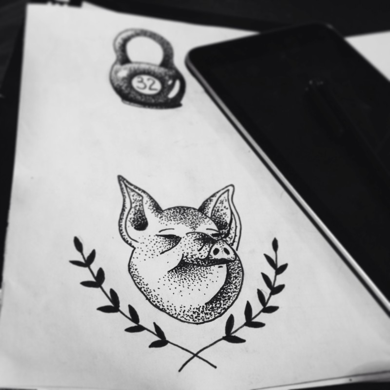 Tiny dotwork pig head and crossed laurel branches tattoo design