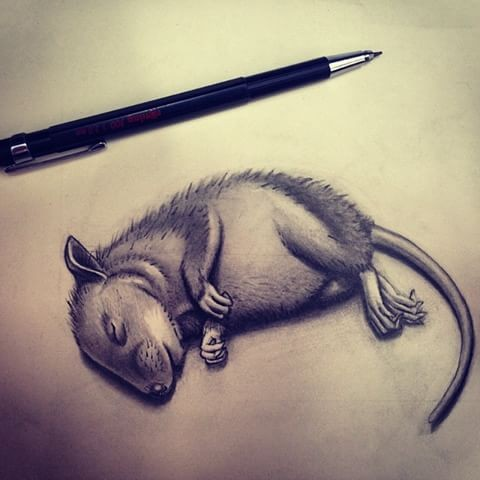 Tiny grey dleeping rodent tattoo design