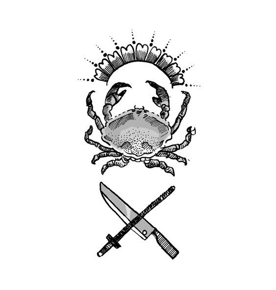 Tiny grey shining crab with crossed sword and knife tattoo design