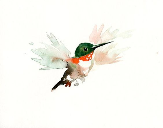Tiny pale-winged watercolor hummingbird tattoo design