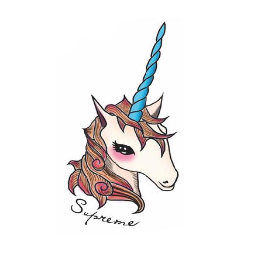Tiny shy unicorn head with long blue horn tattoo design