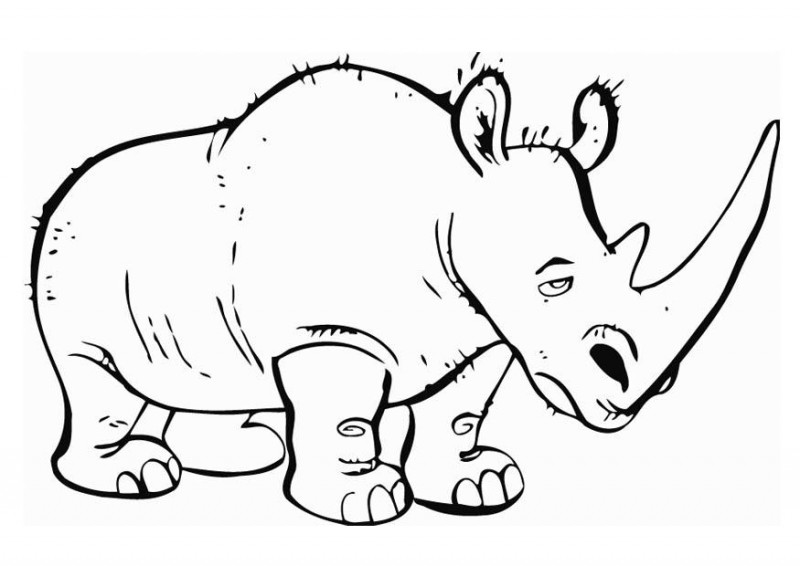 Tired animated outline rhino tattoo design