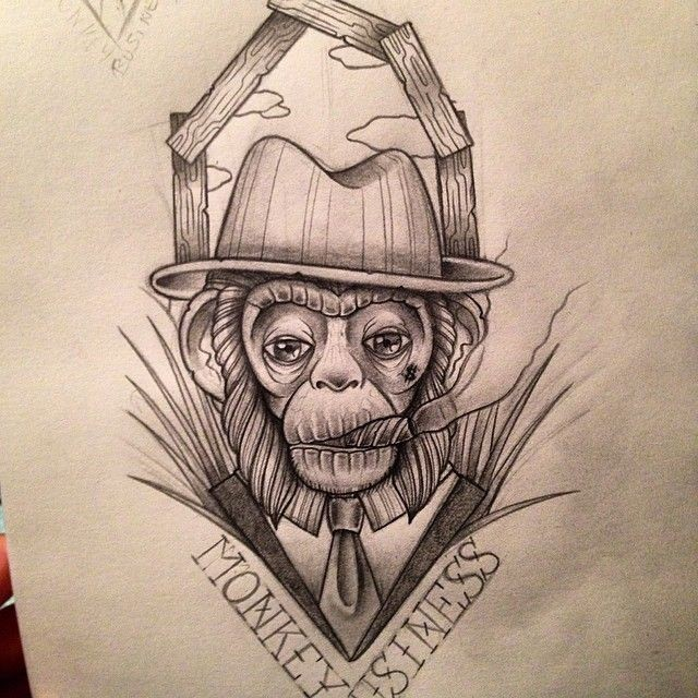 Tired black-and-white mr monkey smoking a tobacco pipe tattoo design