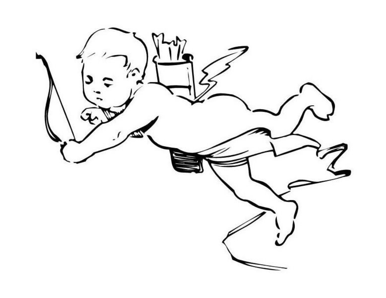Tired colorless angel cherub with a bow and an arrow tattoo design