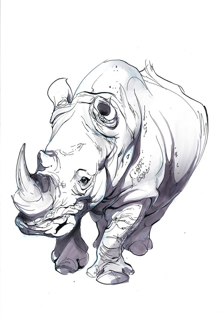 Tired pale-colored walking rhino tattoo design